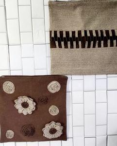 2 Wool Pillow Shams Color Brown/Tan Textured Flow